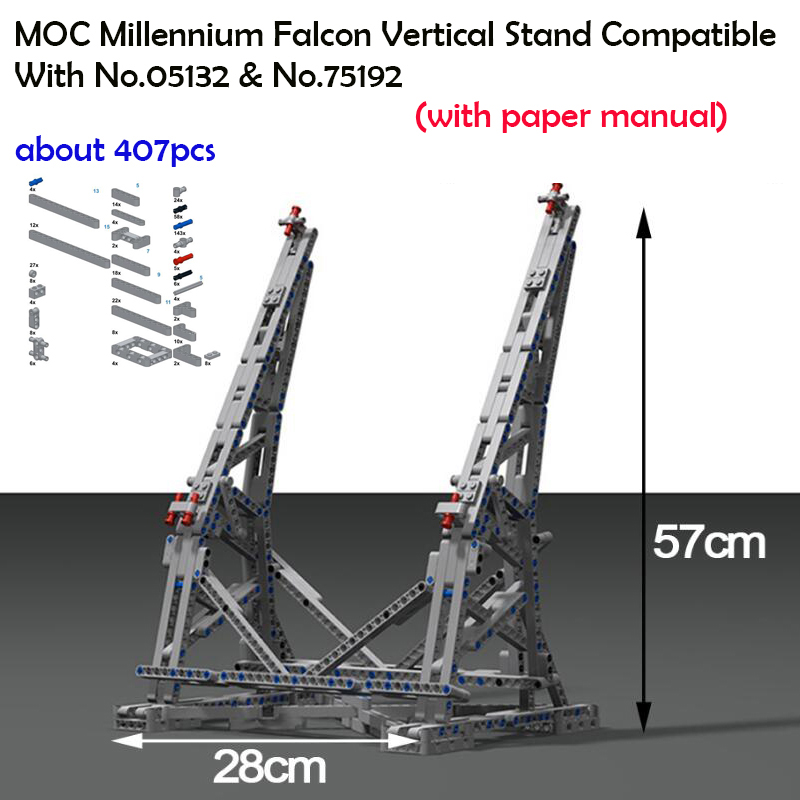 407pcs Star War Millennium Falcon Vertical Display Stand Compatible with LegoINGly 75192 Lepin 05132 Ultimate Collector's Model