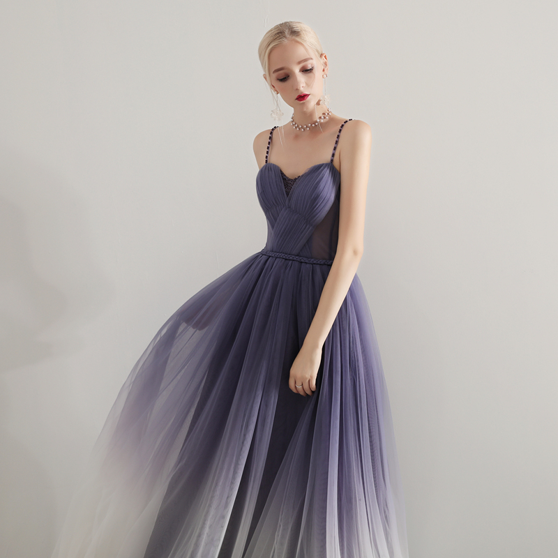 Purple Evening Dresses 2019 Long Tulle Formal Dress Spaghetti Straps Women Elegant Evening Gowns Dress Party Abiye Gece Elbisesi in Evening Dresses from Weddings Events