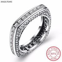 Vintage Design 925 Sterling Zilveren Vierkante 4A Zirkoon Vinger Ring Vrouw Meisje Fijne Party Accessoires Sieraden Kerstcadeaus anel