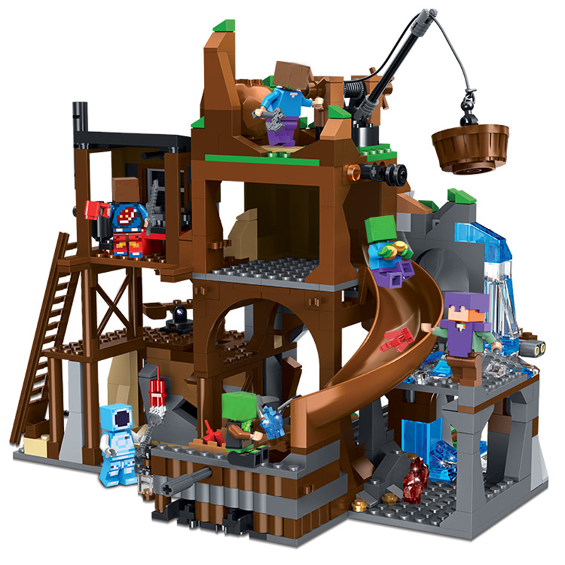 Blocks Model Building Ambitious Legoing Minecraft Mine Digging Treasure My World Alex Steve Figures Blocks Toys For Children Compatible Minecrafts Legoings Sets
