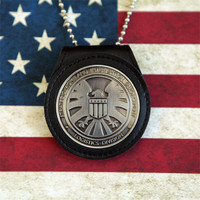 NEW Multifunctional Official Agents of shield S.H.I.E.L.D. Metal SHIELD Badge Pin & Badge Holder with Bead Chains Cosplay Props