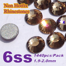 Envío gratis Nail Art Rhinestone lt. col. colores topaz SS6 ( 1.9 – 2.0 mm ) 1440 unids/pack Hotfix no Flatback piedras