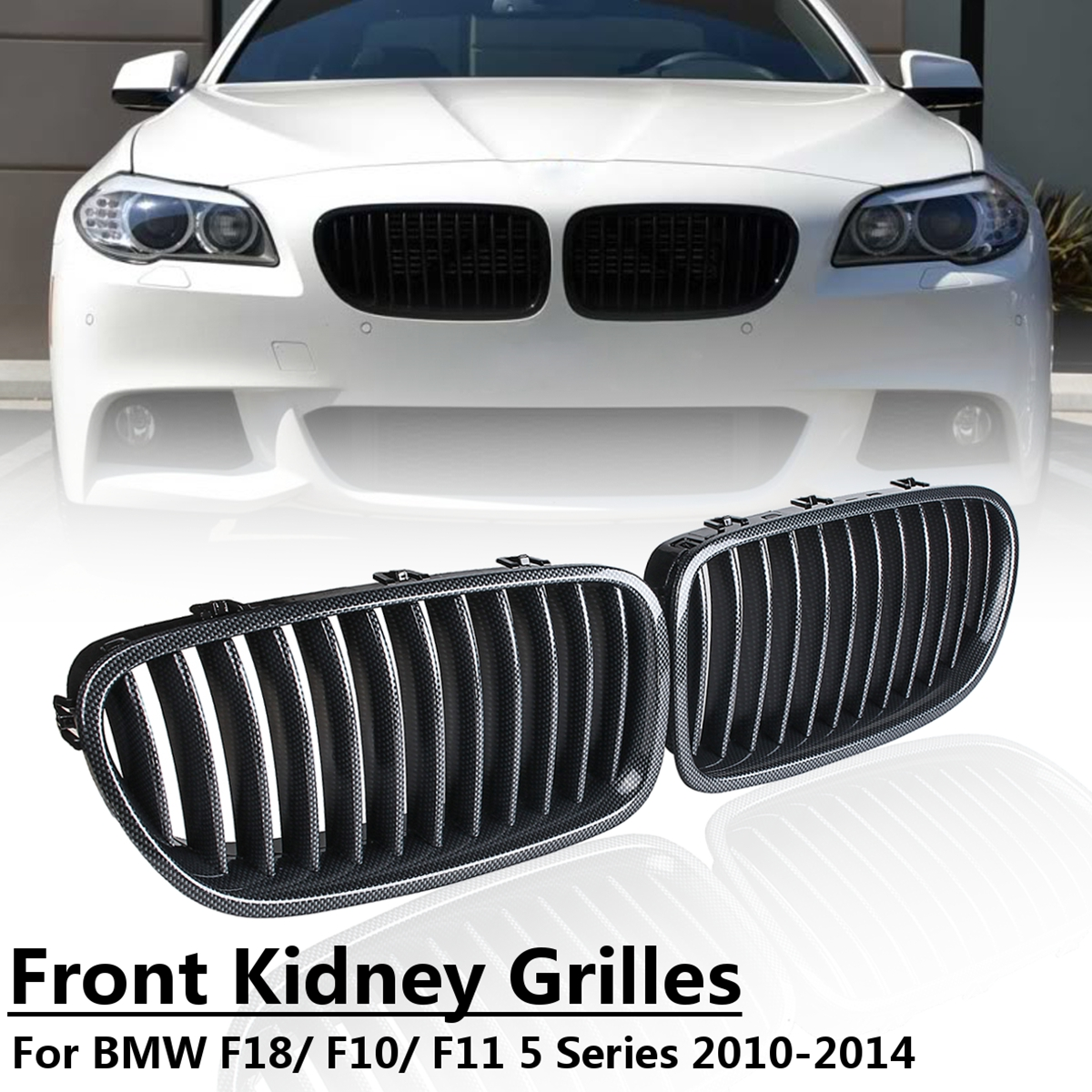 1 Pair Kidney Replacement Grille Carbon Fiber Front Kidney Grill Grilles for BMW F18 F10 F11 5 Series 2011 2012 2013 2014 2pcs front grille bumper hood grill grilles automobile front kidney grille for bmw 1 series f20 2012 2014 glossy black