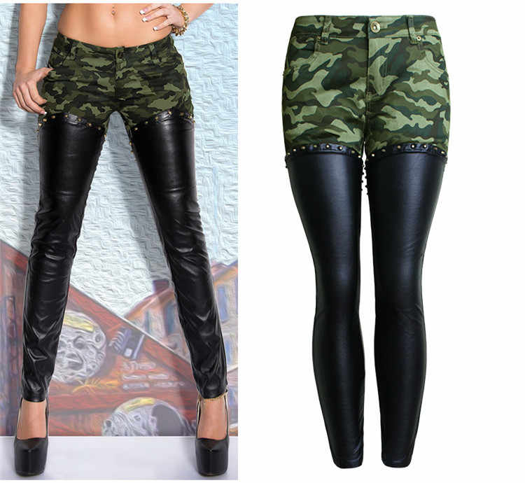 ... Plus size women fashion camouflage leather skinny jeans low rise rivets  and zippers detail punk sculpt ... 247e5fca5ef8