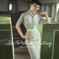 Europe and America Elegant Light Gray Vintage Slim White Buckle One Piece Dress Half Sleeve Autumn Winter Women Collar Dress