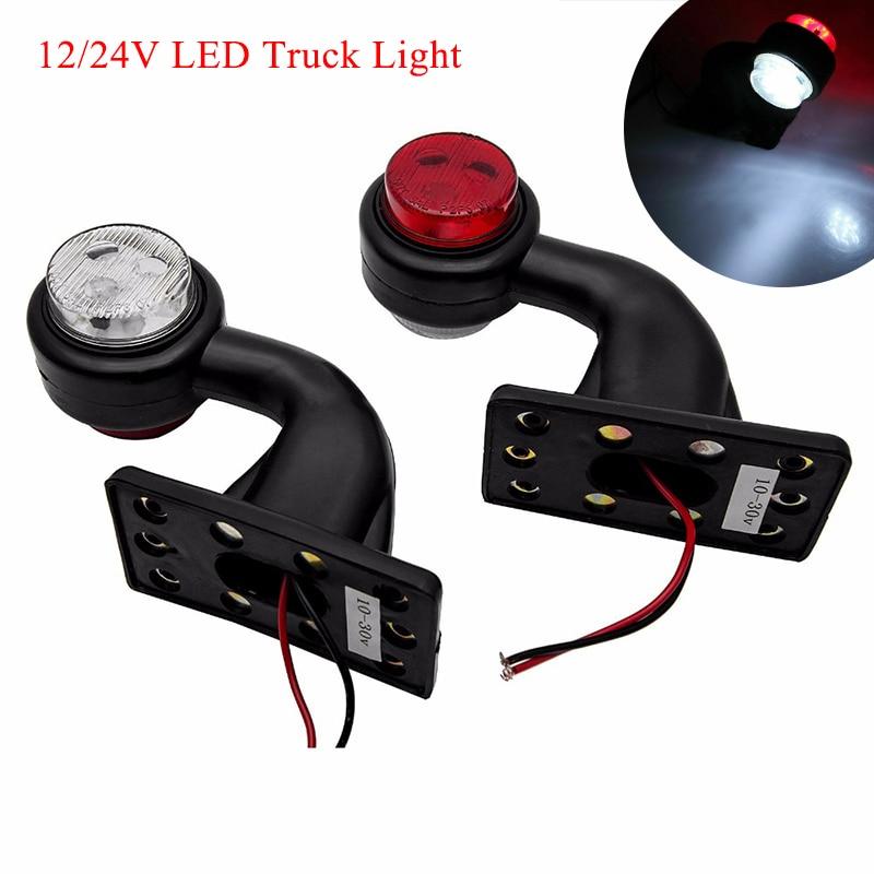 2pcs 12/24V LED Side Marker Light Truck Light Indicator Lamp Tail Light Auto Trailer Lorry Lamps Red White