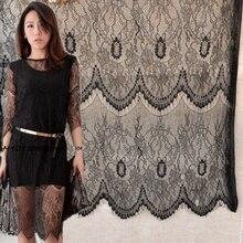 Kostenloser versand Schwarz weiß große welle wimpern spitze hochzeitskleid stoff vorhang hintergrund spitze stoff 150 cm breite RS365