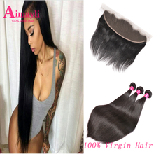 Brazilian Virgin Straight Hair With Frontal Closure Ear To Ear Lace Frontal Closure With Bundles 8A Brazilian Hair With Closure