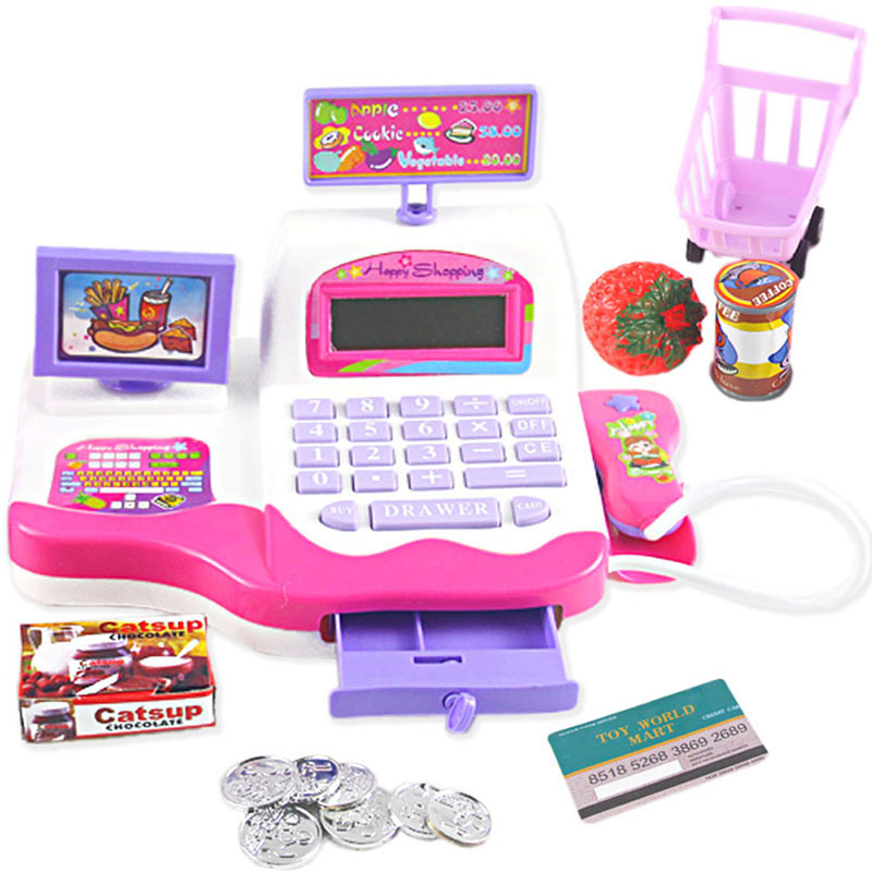 Children Like Interesting Creative Kid Toy Pretend Play Supermarket Cash Register Scanner Checkout Counter