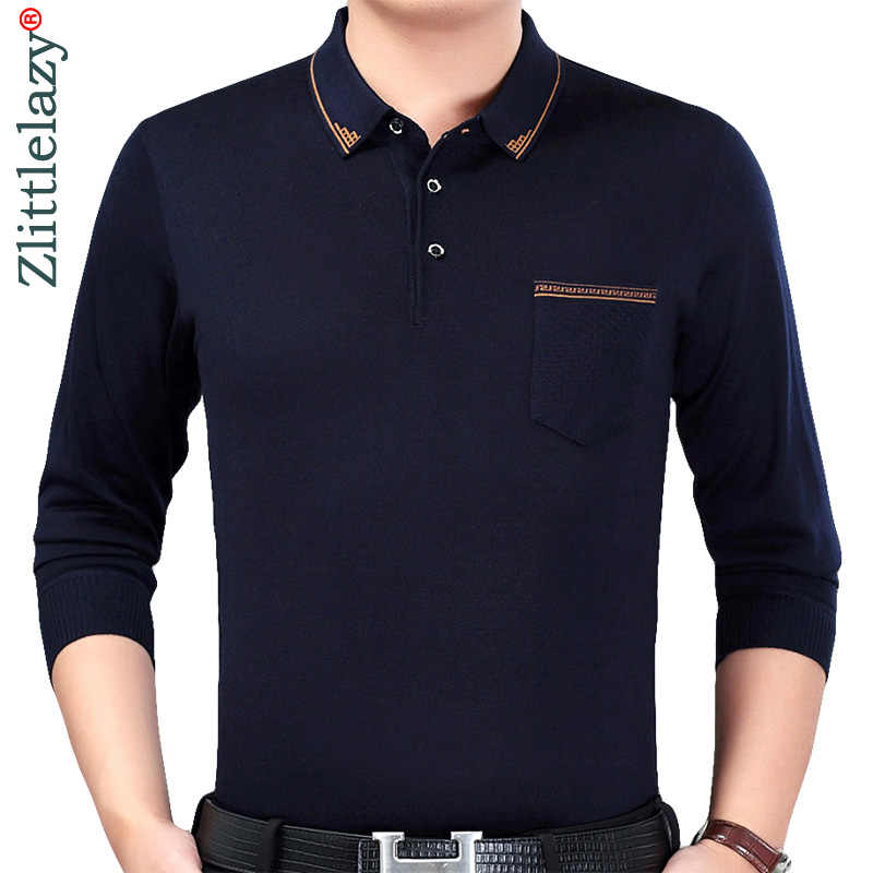 39bd4b58fa Camiseta polo ajustada de manga larga de marca de diseñador 2018 para hombre  casual jersey sólido