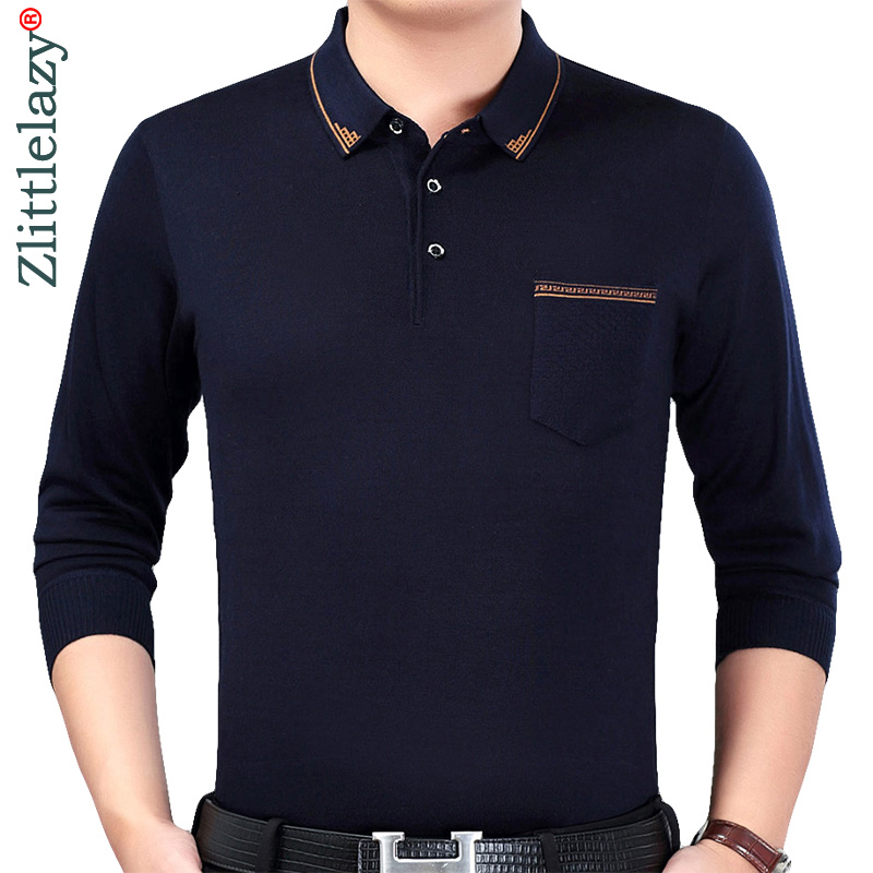2018 designer brand long sleeve slim fit   polo   shirt men casual jersey solid mens   polos   vintage pocket quality tee shirt 41311