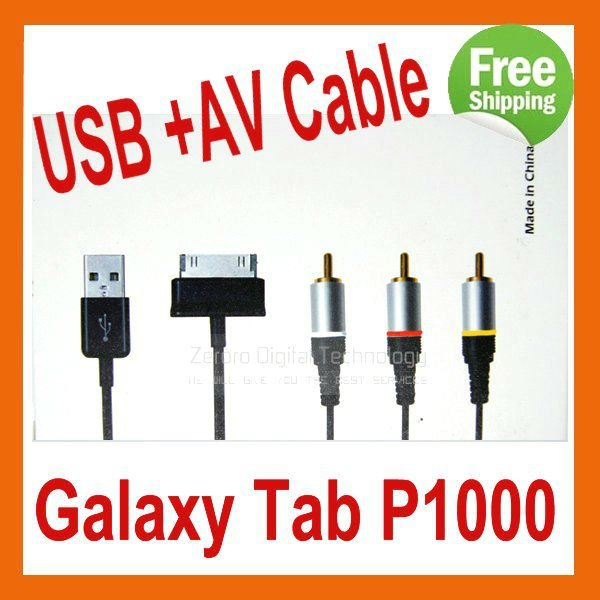 USB AV TV OUT RCA Video Cable Cord For Samsung Galaxy Tab P1000  in Retail Box