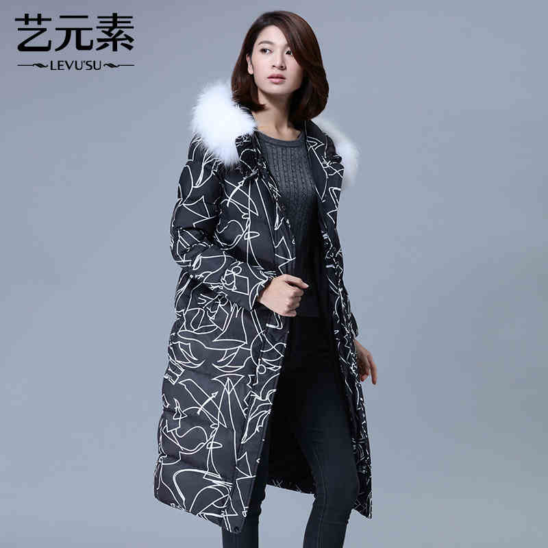 2015 New Hot Winter Cold Warm Woman Down jacket Coat Parkas Outerwear Hooded Raccoon Fur collar Loose Long Plus Size XL Print