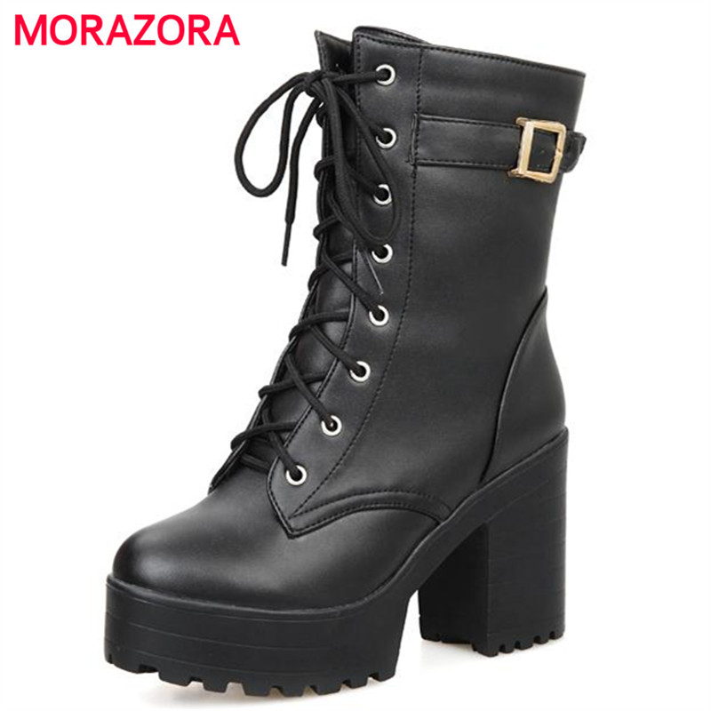 MORAZORA Motorcycle boots PU soft leather round toe ankle boots for women square heel buckle autumn large size 34-43 vinlle women boot square low heel pu leather rivets zipper solid ankle boots western style round lady motorcycle boot size 34 43