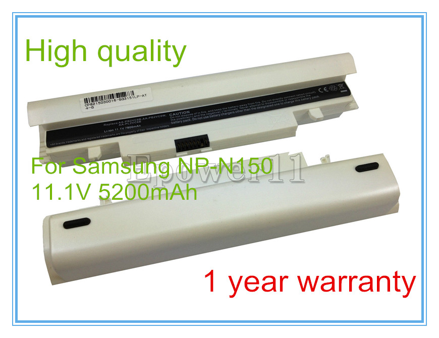 White 5200mAh 6 Cell Laptop <font><b>Battery</b></font> For <font><b>SAMSUNG</b></font> N148 <font><b>N150</b></font> NP-N148 NP-<font><b>N150</b></font> image