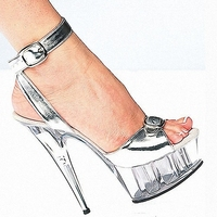 Hand Made Women Dancer Shoes 6 Inch Fetish High Heel Shoes Sliver Office Lady Dress Fashion