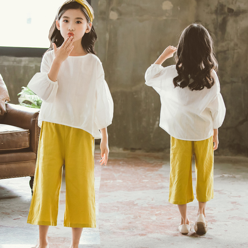 Children Girls Clothing Sets Summer Cotton New Kids Teenage Casual T Shirt +Wide Leg Pants Girl Clothes Set 2pcs Kids Suit CA051 new 2017 cotton little girls shirt off the shoulder white t shirt kids top children clothes tolder clothing kids summer blouse