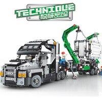 1202Pcs Container Truck Vehicles Car Building Blocks Technic City DIY Bricks Educational Toys for Children