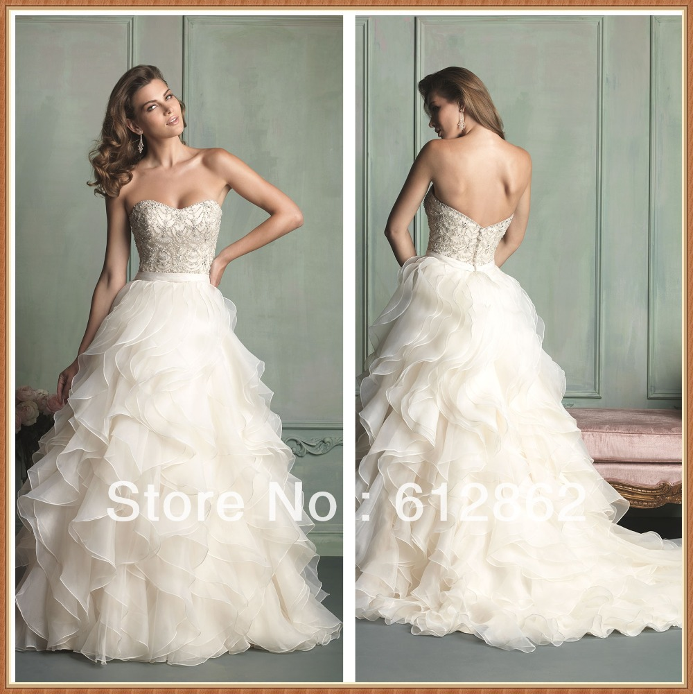 Strapless Sweetheart Low Back Beaded Bodice Long Train
