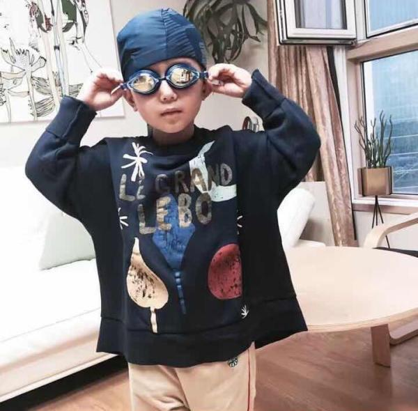 2016 new Autumn  fashion bobo choses Baby cotton moon tree pattern for boy tops Tee children's full sleeve Dark blue t-shirt