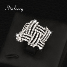 SINLEERY White Gold Color Micro Paved Crystal Rings Jewelry for Women Weave Shaped Finger Rings Bague Anillos JZ054 SSC