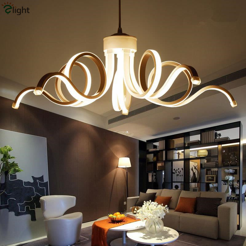 Modern Led Pendant Lights Dimmable White Pendant Lamp For Dining Room Curved Aluminium Hanging Lamp Suspend Lamp Fixtures