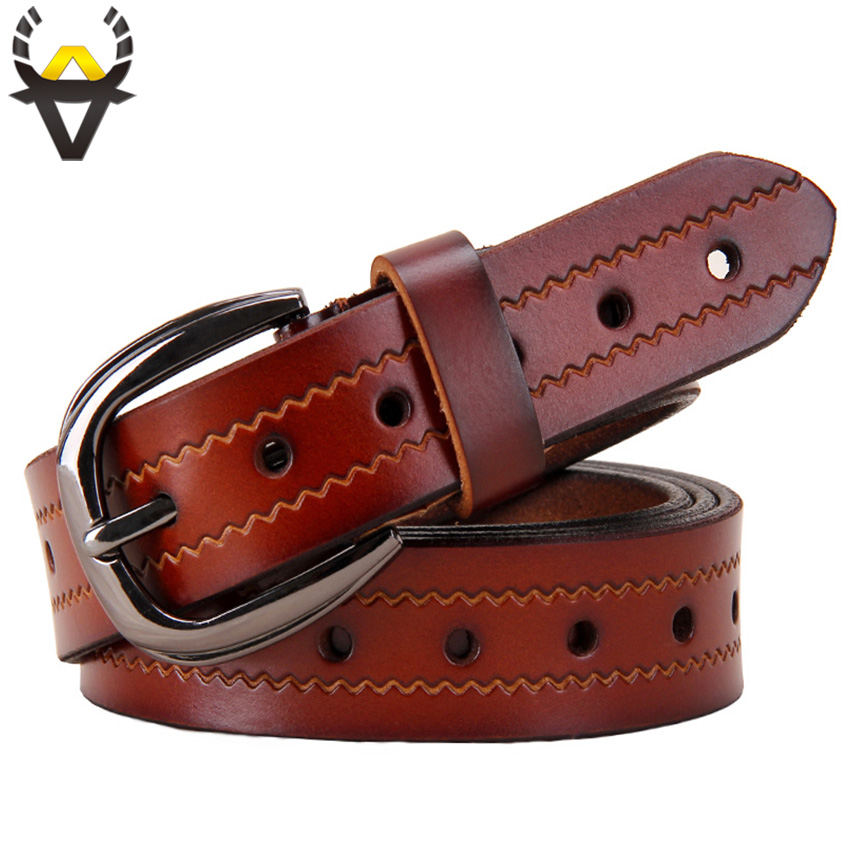 Fashion Holes Genuine Leather Belts for Women High quality Second Layer Cowskin Woman belt Pin buckle Strap for Jeans female Red