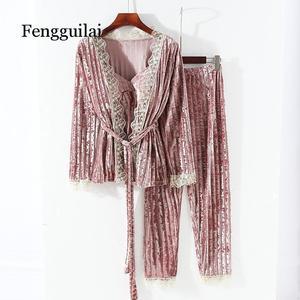 Image 1 - Nova coleção feminina veludo cordão de renda 3 peça conjunto pamaja senhoras ternos cardigan macio + camisola magro calças compridas conjuntos dormir
