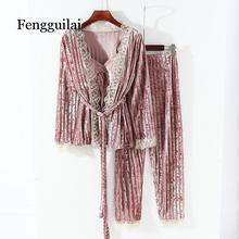 Yeni koleksiyon kadın kadife dantel İpli 3 parça Pamaja seti bayanlar yumuşak hırka takım elbise + ince kaşkorse + uzun pantolon uyku setleri
