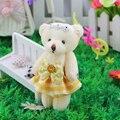Promoción Al Por Mayor 12 unids/lote 12 cm suave mini oso de peluche de juguete muñeca de las muchachas lindo ramos de juguetes de peluche oso de material PP Algodón Oso de peluche