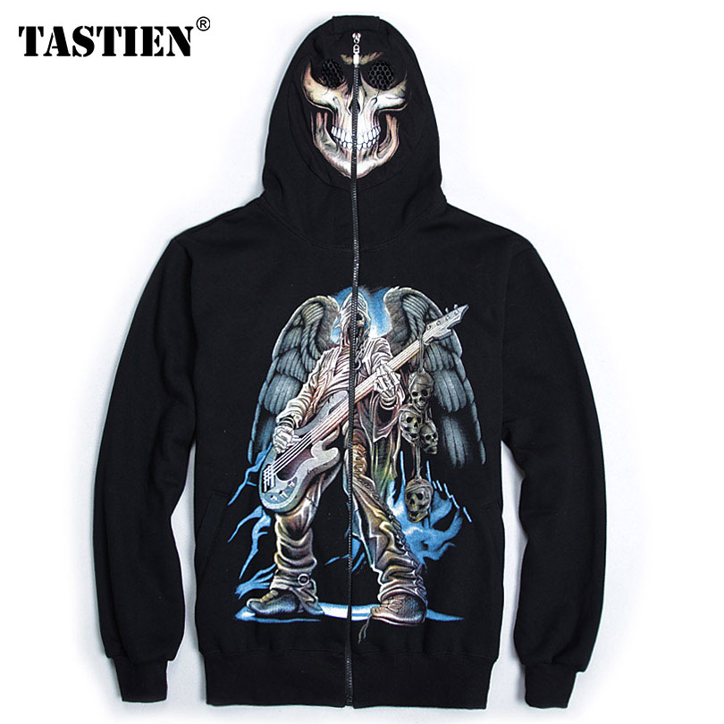 TASTIEN 2018 Luminous Mens Hoodies Sweatshirts 3d Hooded Cotton Skulls Printed High Quality Autumn Boys Streetwear Punk Hoodies