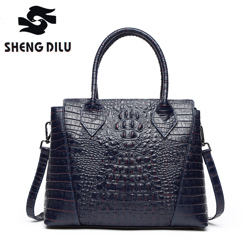цены  100% genuine leather handbag shengdilu brand 2017 new women tote noble cow leather shoulder bag bolsa feminina free Shipping