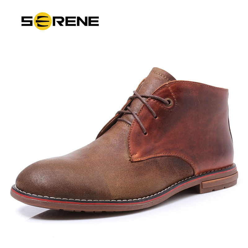 SERENE Brand 2017 Men Boots Size 38-45 Warm Leather Lace-up Men Shoes Casual Fashion Ankle Boots Autumn Winter Boots Plus Size iahead men boots genuine leather flats new casual shoes lace up warm winter boots men plus size 38 48 rain shoes men mh586