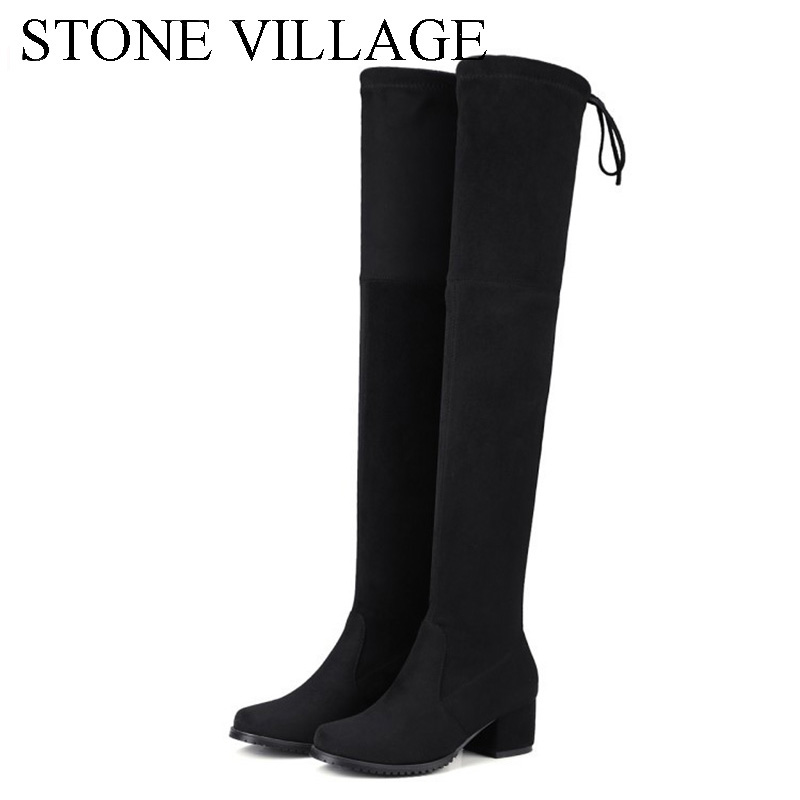 STONE VILLAGE Ladies Over The Knee Lace Up Stretch Fabric Boots Women Mid Heels Round Toe Shoes Botas Feminina Woman Boots stretch fabric over the knee boots sexy back zipper low heels shoes women round toe black khaki long boots elastic botas mujer
