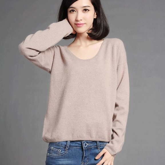 100% cashmere sweater women solid color o neck long sleeve low ...