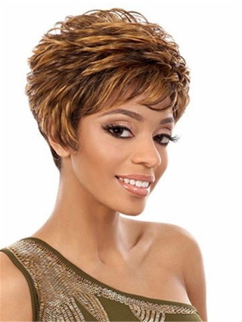 Lucu Pixie Pendek Potongan Rambut Sintetis Untuk Perempuan Kulit Hitam Afro Wanita Tua Wajah Bulat Coklat Wigs Large Cap Size Wig Stockwig Women Aliexpress