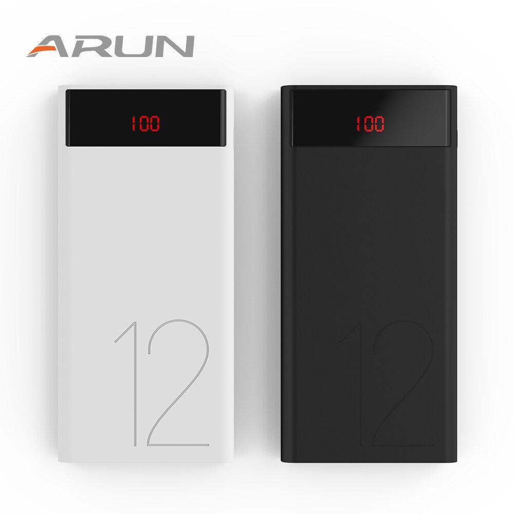 Арун оригинальный ЖК-дисплей Мощность Bank 12000 мАч Портативный телефон Батарея Зарядное устройство J120 12000 мАч Мощность-банк xaio mi mi 5