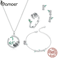 bamoer 4 in 1 Jewelry Sets Panda and Bamboo Design Necklace Earrings Finger Ring Bracelets for Women Silver 925 Jewelry ZHS130