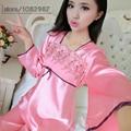 2016 Spring Summer Autumn Women Silk Pyjamas Sets of Sleepcoat & Sleep Pants Lady Casual Bedgown Female Nightwear Home Clothing