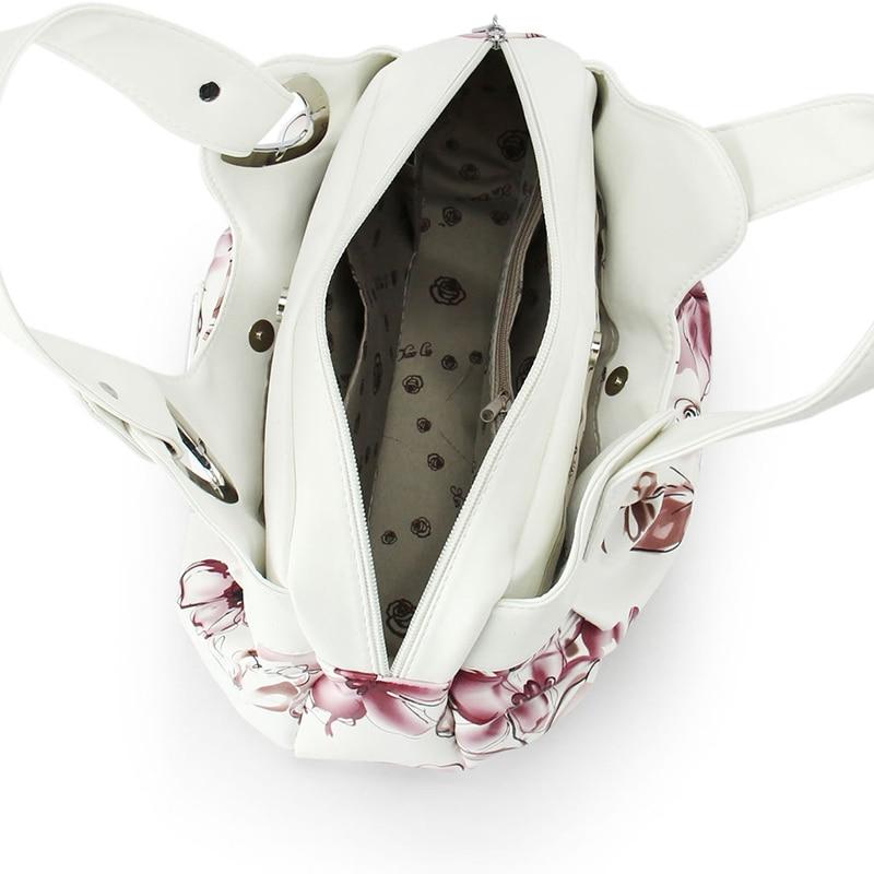 Hot 2017 Top-Handle Bags Flowers fashion foldable tote bags retro vintage women leather handbags tote trendy purses and handbags 6