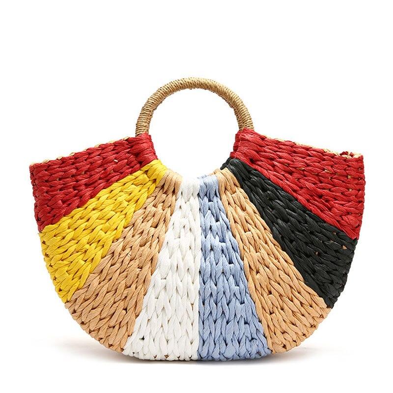 Женские разноцветные сумки из ротанга, тканые летние сумки ручной работы в богемном стиле, пляжная сумка на плечо, большие сумки для путешес...