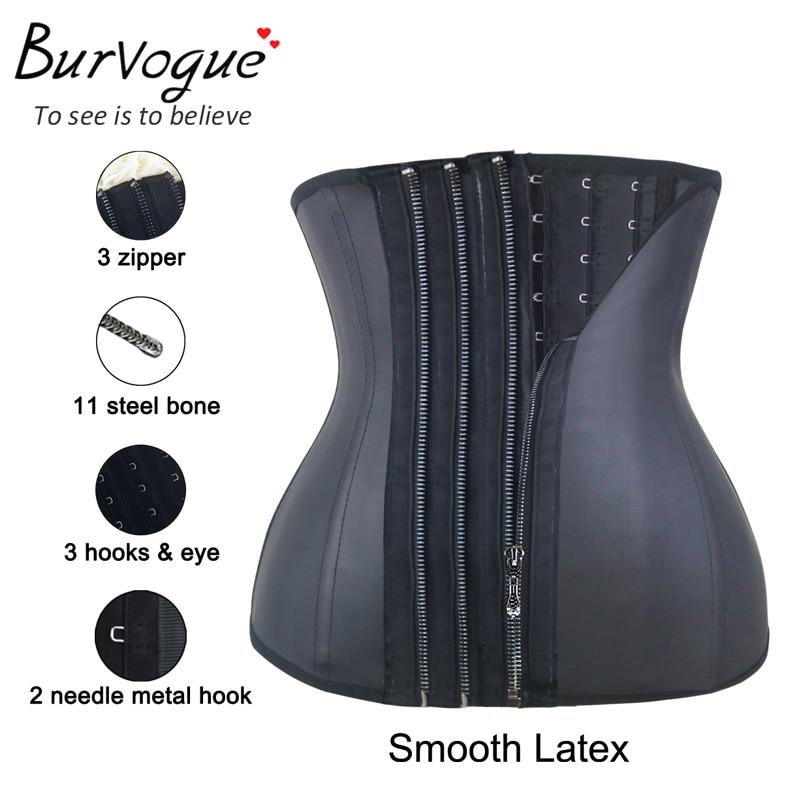 Bursegue korzet sa zatvaračem ispod grudi 11 čeličnih kostiju struka trenerka iz lateksa žene za mršavljenje plus veličina korzet crni korzet S-6XL