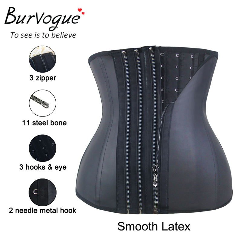 Burvogue Zipper կորսետ Underbust 11 Steel ոսկորների գոտի մարզիչ Latex կորսետներ Կանանց նիհարեցման գումարած չափ կորսետ Սև կորսետ S-6XL