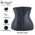 Burvogue Zipper Corset Underbust 11 Steel Bones Waist Trainer Latex Corsets Women Slimming Waist Trainer Corset Black Corselet