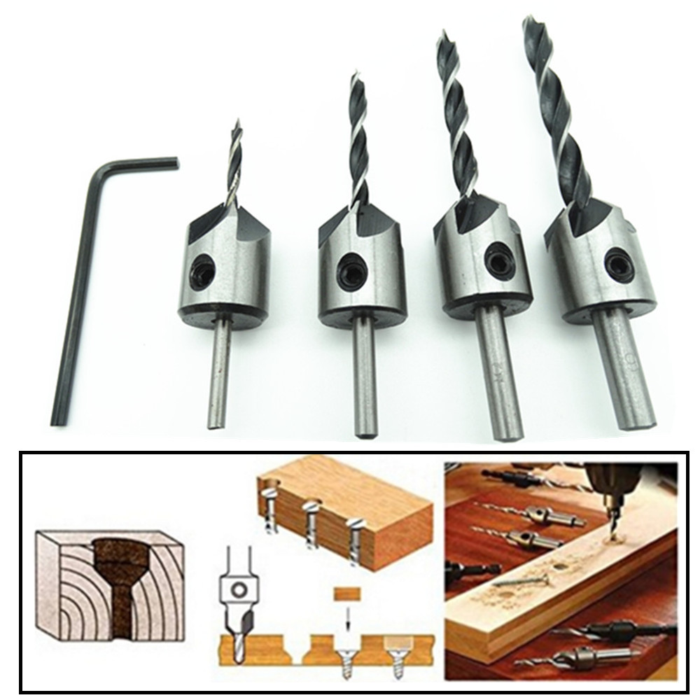4pcs HSS 5 Flute Countersink Drill Bit Set Carpentry Reamer Woodworking Chamfer End Milling Wood Tool 3mm-6mm ZK74 autotoolhome 7pcs hss 5 flute countersink drill bit set carpentry reamer core woodworking chamfer 3mm 10mm for wood drilling