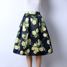 2016 Autumn New Women Fashion Satin Fabric Lemon Printed Middle Knee-Length Skirts Ladies Pettiskirt 2 Colors
