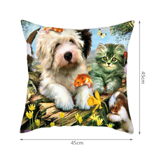 Fuwatacchi Cute Cats Dog Cushion Covers Cartoon Animals Pillow for Home Sofa Chair Decor Throw Pillows Pillowcases 2019