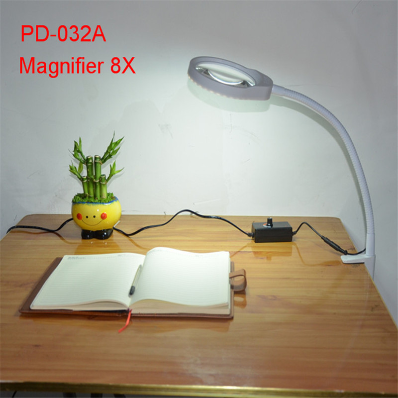 Reading Light with Clip Folding Magnification PD-032A White Multi-function Adjustable Desk Lamp 8X Magnifier 8x folding magnifier with scale