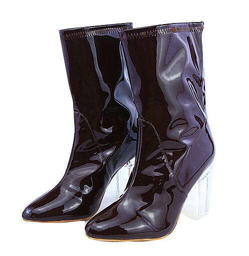 2017 Fashion Ankle Boots See Through Pvc Booties Clear