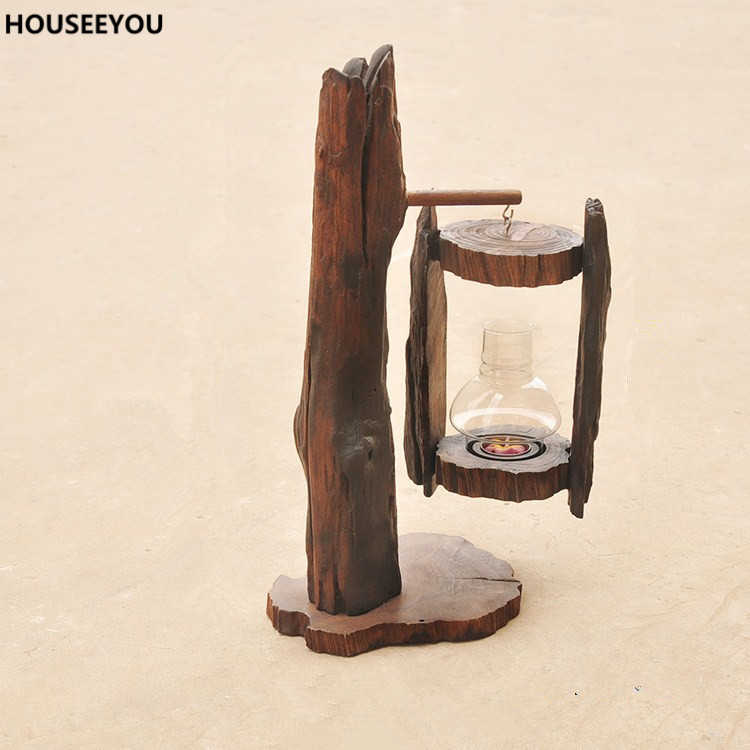 Home Decor Candle Holders And Accessories: Classic Wood Sculpture Crafts Candlestick Home Decor